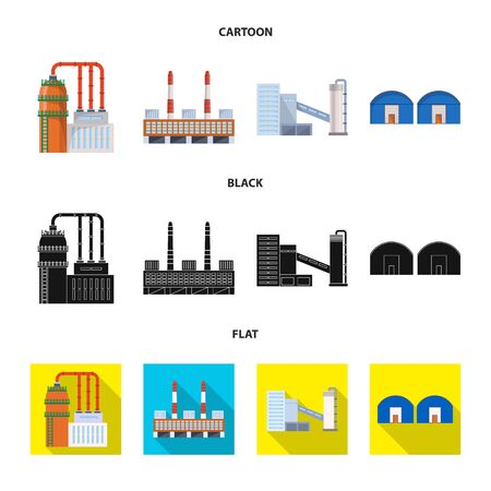 Vector illustration of production and structure . Set of production and technology stock vector illustration.