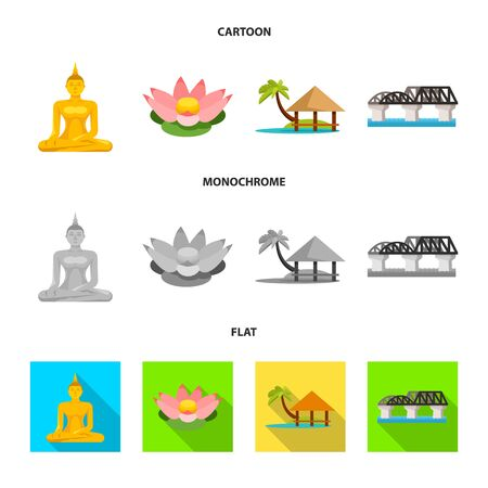 Isolated object of journey and exotic symbol. Collection of journey and national stock vector illustration. Ilustração