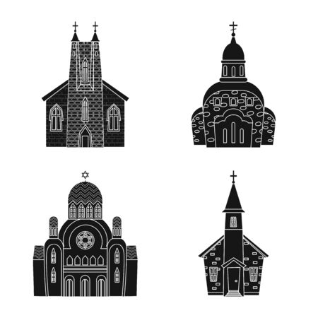 Isolated object of house and parish sign. Collection of house and building stock vector illustration. 일러스트