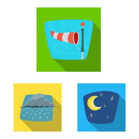 Isolated object of weather and climate . Collection of weather and cloud vector icon for stock. Ilustração