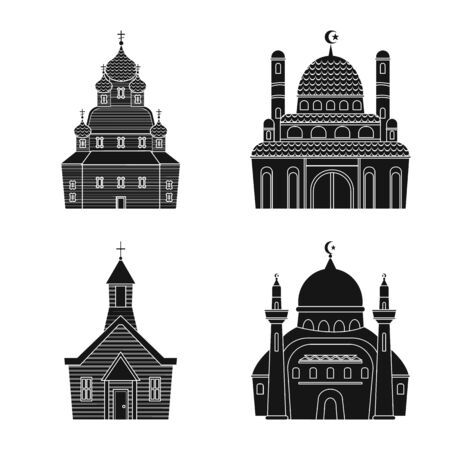Vector illustration of house and parish  . Set of house and building stock vector illustration. Ilustração