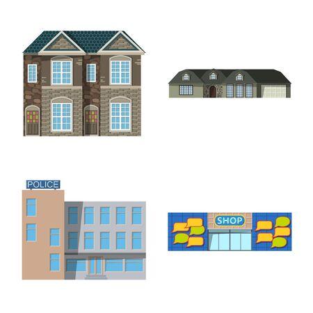 Vector illustration of building and front . Collection of building and roof stock vector illustration. Ilustração