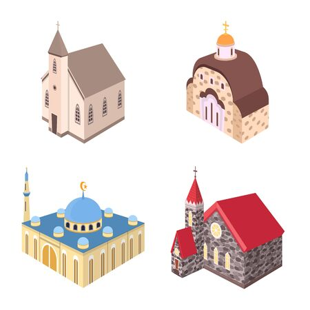 Vector design of architecture and building . Collection of architecture and clergy vector icon for stock.