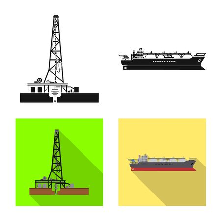 Isolated object of oil and gas symbol. Collection of oil and petrol stock vector illustration. Vektoros illusztráció