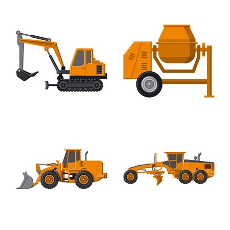 Isolated object of build and construction . Set of build and machinery vector icon for stock.