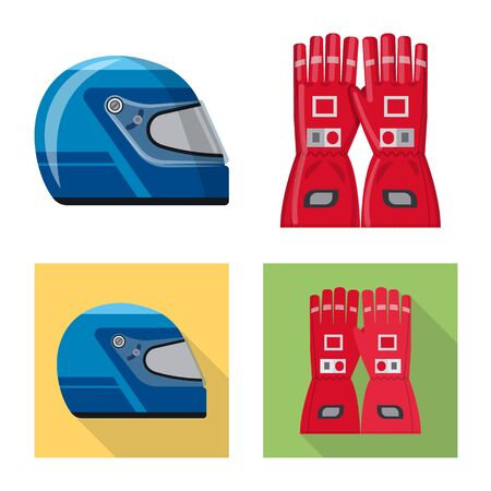 Isolated object of car and rally sign. Set of car and race vector icon for stock. Ilustração