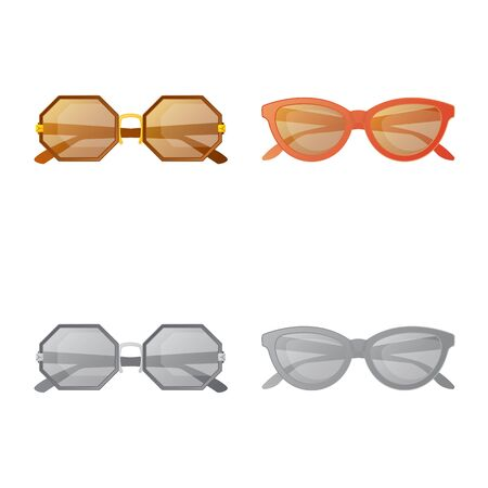 Isolated object of glasses and sunglasses sign. Collection of glasses and accessory vector icon for stock.