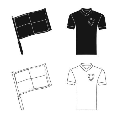 Vector illustration of soccer and gear symbol. Collection of soccer and tournament vector icon for stock. Ilustração