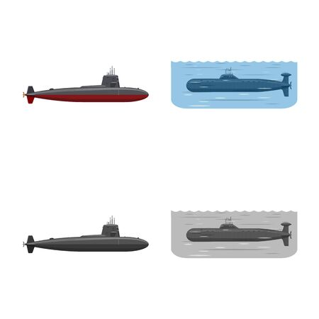Isolated object of war and ship  . Collection of war and fleet stock symbol for web.