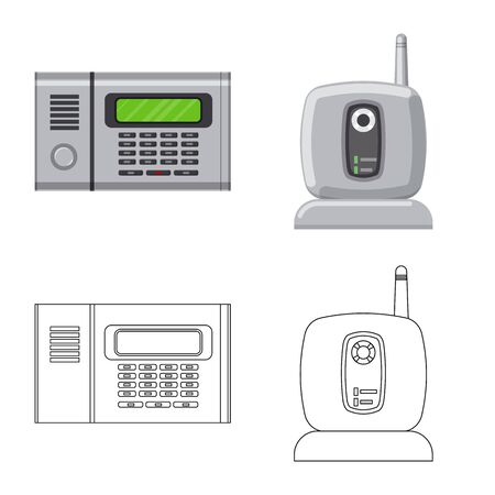 Vector illustration of office and house  . Collection of office and system vector icon for stock.