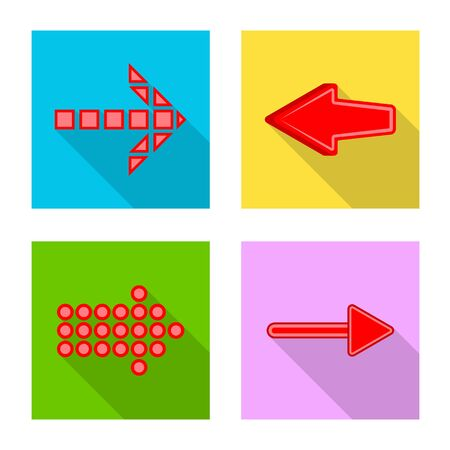 Vector design of element and arrow sign. Collection of element and direction stock symbol for web. 일러스트