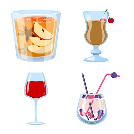 Vector illustration of cocktail and drink logo. Collection of cocktail and ice stock vector illustration.
