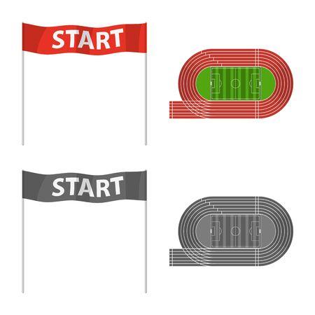 Vector illustration of sport and winner sign. Collection of sport and fitness vector icon for stock. Stock Illustratie