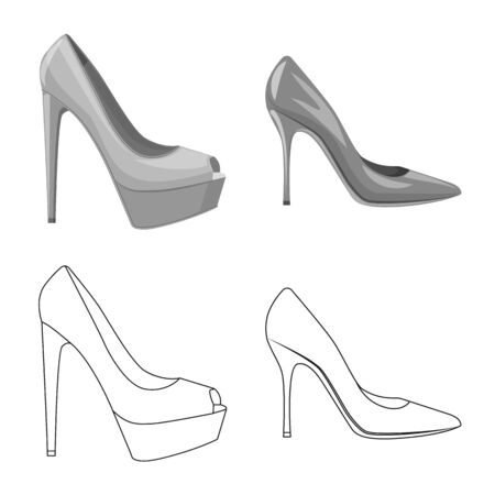 Isolated object of footwear and woman. Collection of footwear and foot vector icon for stock.