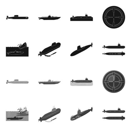Vector illustration of war and ship sign. Set of war and fleet vector icon for stock.