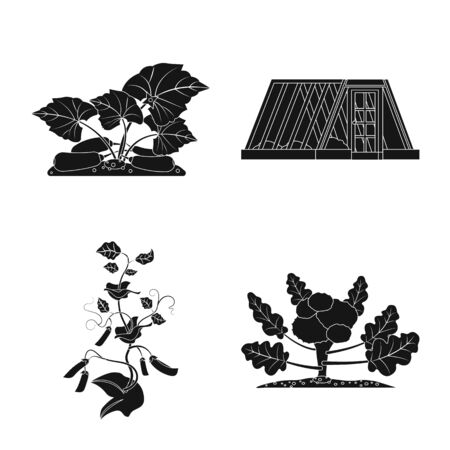 Isolated object of greenhouse and plant symbol. Collection of greenhouse and garden vector icon for stock.