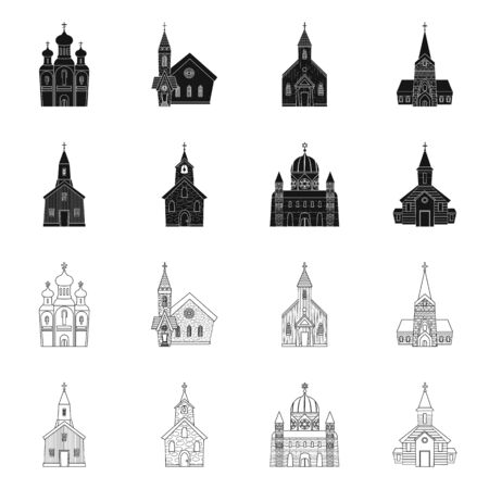 Vector design of cult and temple symbol. Set of cult and parish vector icon for stock. 일러스트