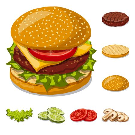 Vector design of burger and sandwich symbol. Collection of burger and slice vector icon for stock. Standard-Bild - 129133293