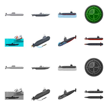 Vector design of war and ship symbol. Collection of war and fleet stock symbol for web. Иллюстрация