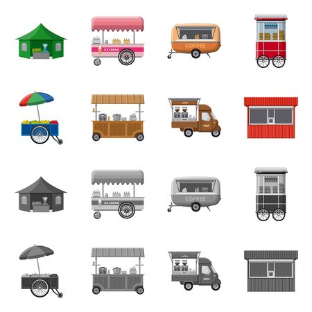 Isolated object of market and exterior . Collection of market and food vector icon for stock.