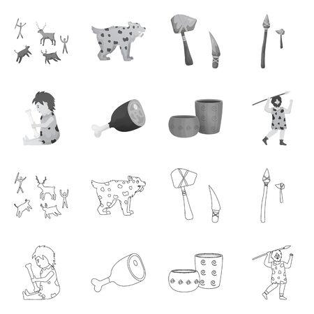 Vector design of evolution and neolithic sign. Set of evolution and primeval stock symbol for web. Ilustração
