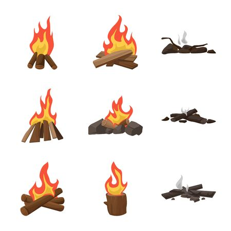 Vector design of flame and fire symbol. Collection of flame and camp vector icon for stock.