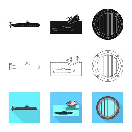 Vector illustration of war and ship  . Set of war and fleet vector icon for stock.