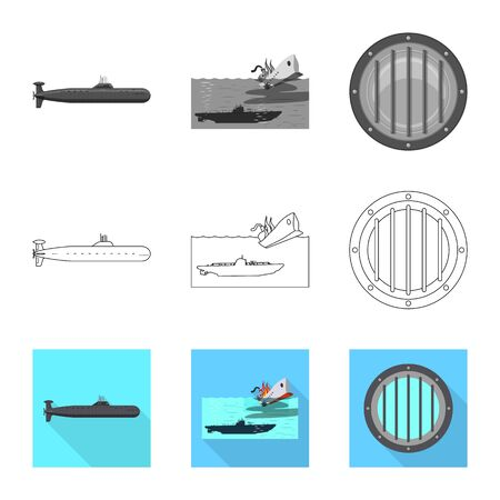 Isolated object of war and ship . Set of war and fleet stock vector illustration.
