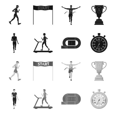 Vector design of sport and winner . Set of sport and fitness stock symbol for web. Stock Illustratie