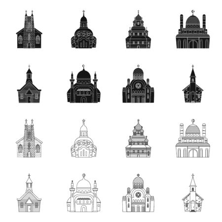 Isolated object of cult and temple. Collection of cult and parish stock vector illustration.