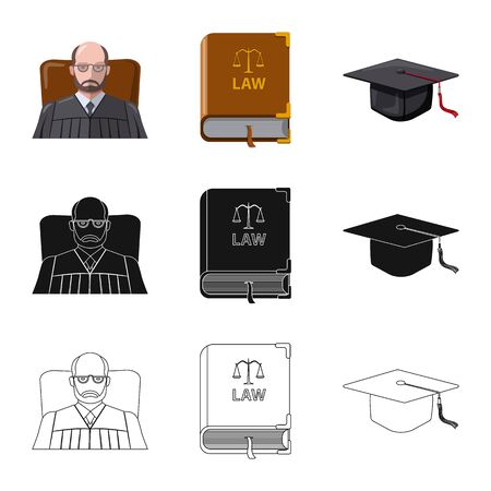 Vector illustration of law and lawyer sign. Collection of law and justice stock symbol for web. Standard-Bild - 129133578