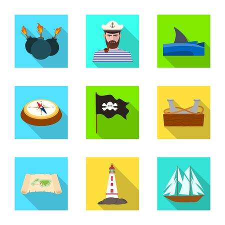 Vector design of travel and attributes sign. Collection of travel and seafaring vector icon for stock. Standard-Bild - 128772317
