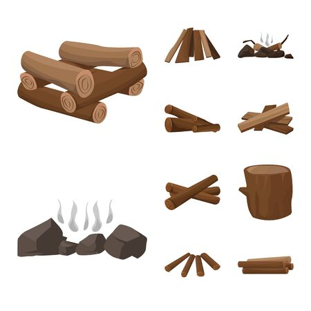 Vector design of timber and nature icon. Set of timber and construction vector icon for stock.