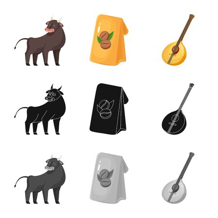 Isolated object of and historic symbol. Collection of and country stock symbol for web. Иллюстрация