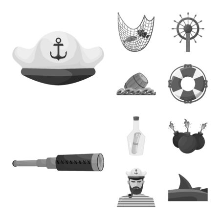 Vector design of vintage and nautical icon. Collection of vintage and attributes stock vector illustration. 向量圖像