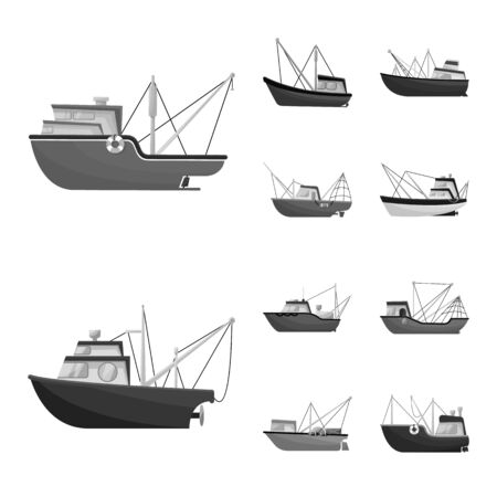 Vector illustration of sea and speedboat icon. Collection of sea and industrial stock symbol for web. Standard-Bild - 128773934
