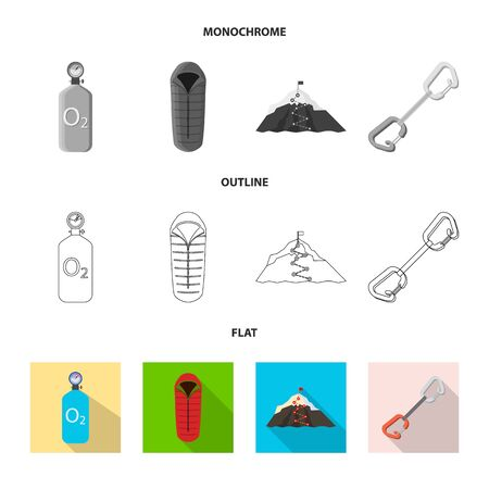 Isolated object of mountaineering and peak sign. Set of mountaineering and camp stock symbol for web.
