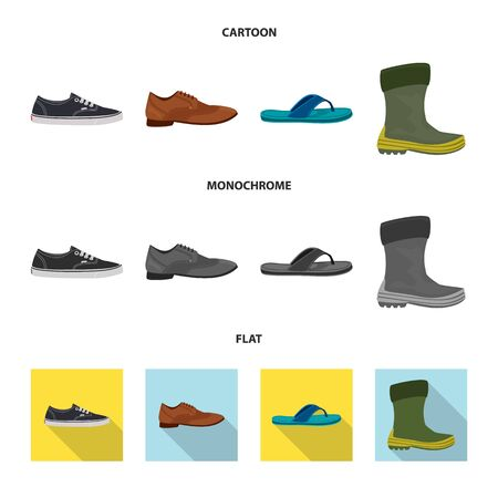 Vector illustration of shoe and footwear sign. Set of shoe and foot stock vector illustration. Иллюстрация