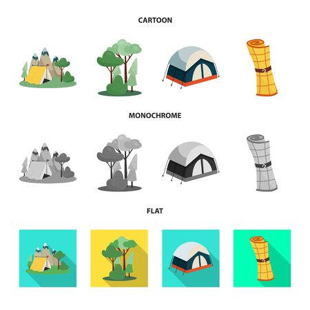 Diseño vectorial de trekking y logotipo de vida silvestre. Conjunto de ilustración vectorial de stock trekking y ocio.