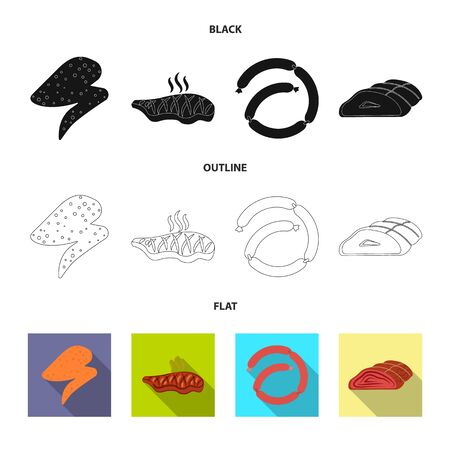 Vector design of meat and ham symbol. Set of meat and cooking vector icon for stock.