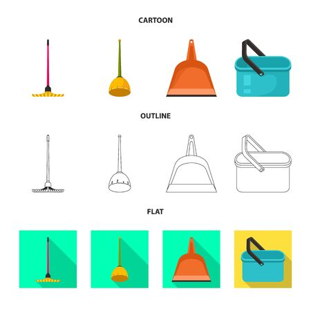 Vector illustration of cleanup and household icon. Set of cleanup and washing stock symbol for web.