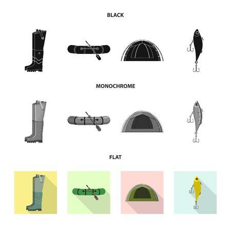 Vector illustration of fish and fishing symbol. Set of fish and equipment stock vector illustration.