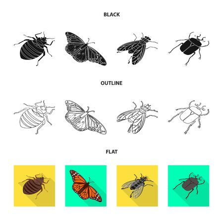 Vector design of nature and wildlife . Set of nature and wing vector icon for stock.