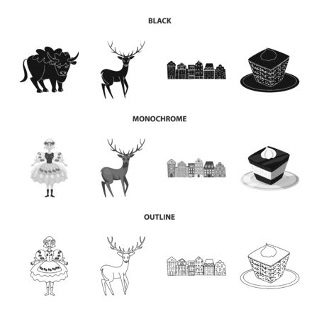 Vector illustration of traditional and tour icon. Collection of traditional and landmarks stock symbol for web. Иллюстрация
