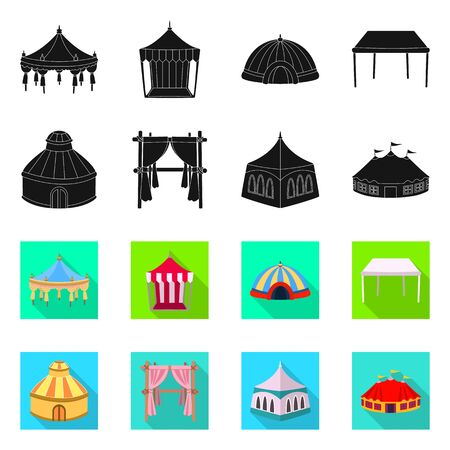 Isolated object of roof and folding sign. Set of roof and architecture vector icon for stock. Ilustração