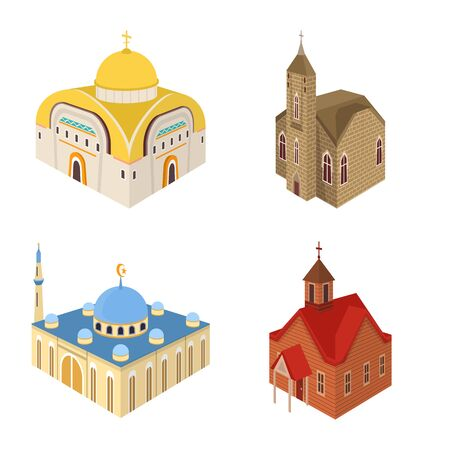 Vector design of architecture and building . Collection of architecture and clergy stock vector illustration. Иллюстрация
