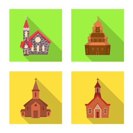 Vector design of cult and temple symbol. Set of cult and parish stock vector illustration. Imagens - 129111822