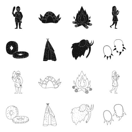 Isolated object of evolution and neolithic . Collection of evolution and primeval stock symbol for web.