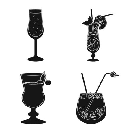 Isolated object of club and ingredient icon. Collection of club and drink stock vector illustration.