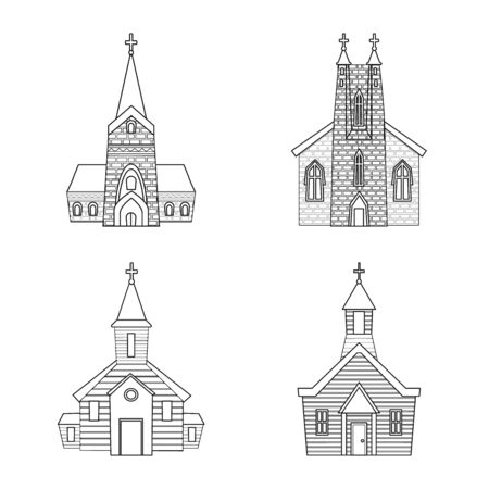 Vector design of architecture and faith . Set of architecture and temple stock symbol for web.